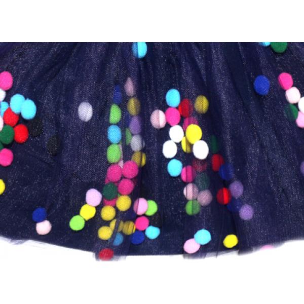 20-4393 Юбка из фатина, 2-6 лет, синяя ночь