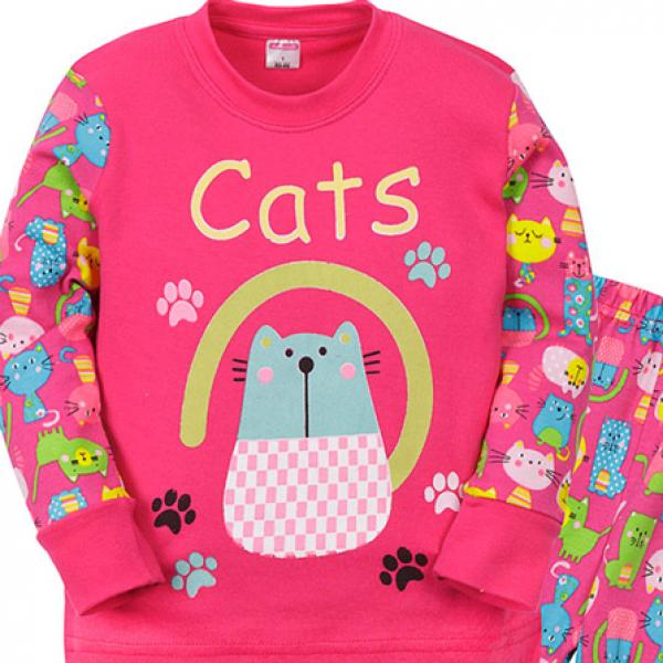 """11-148251 """"Cats"""" Пижама для девочки, 1-4 года, розовый"""
