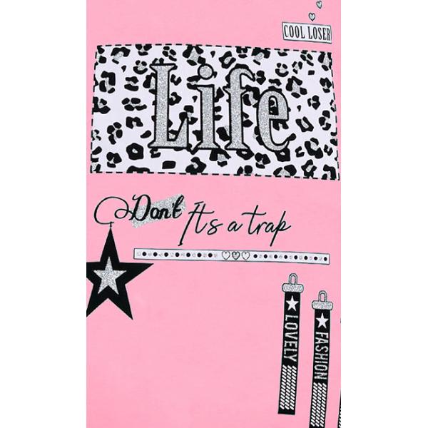 """12-8110808-1 """"Life"""" Туника для девочки, 8-11 лет, розовый"""