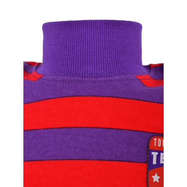 14-581313 Водолазка в полоску для мальчика, 5-8 лет, фиолетовый