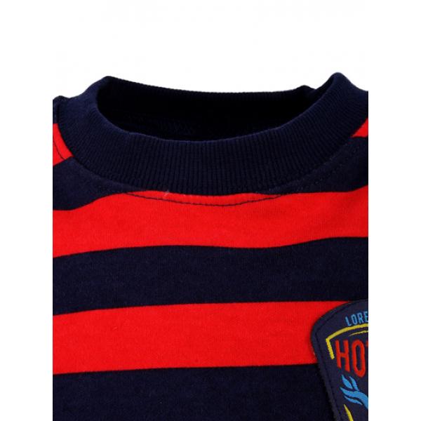 14-581320 Джемпер в полоску для мальчика, 5-8 лет, т-синий\красный
