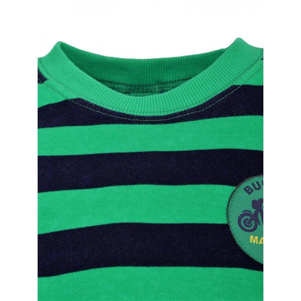 14-581323 Джемпер в полоску для мальчика, 5-8 лет, зеленый