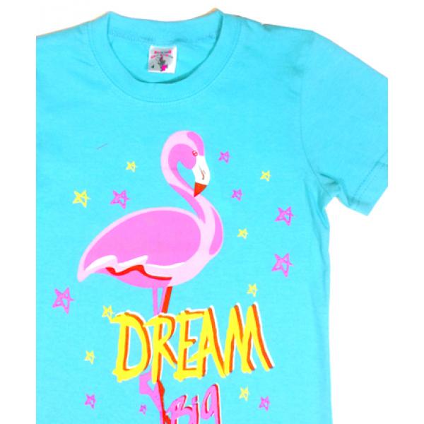 """15-480232 """"Фламинго"""" Футболка для девочки, 4-8 лет, бирюзовый"""
