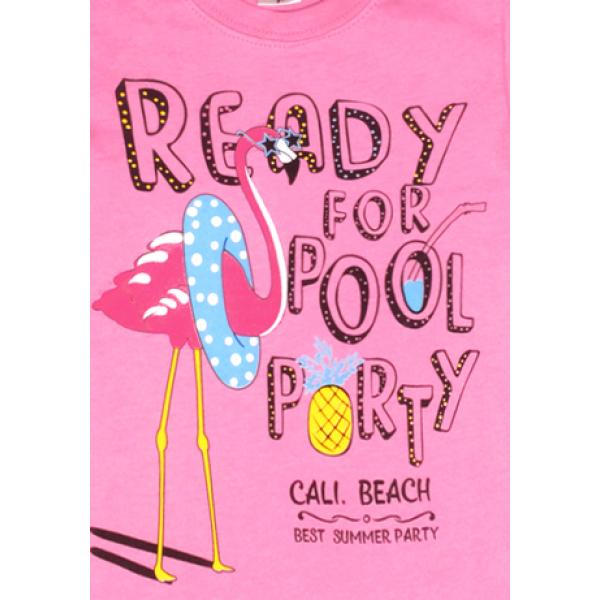 "15-480234 ""Ready"" Футболка для девочки, 4-8 лет, розовый"