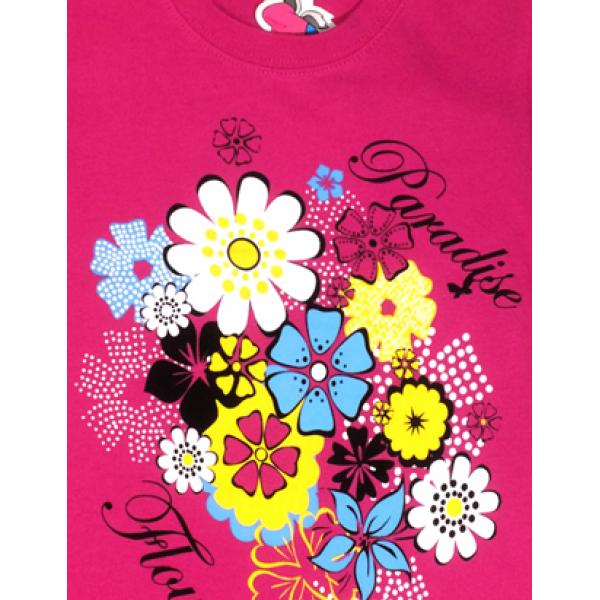 """15-480238 """"Flowers"""" Футболка для девочки, 4-8 лет, малиновый"""