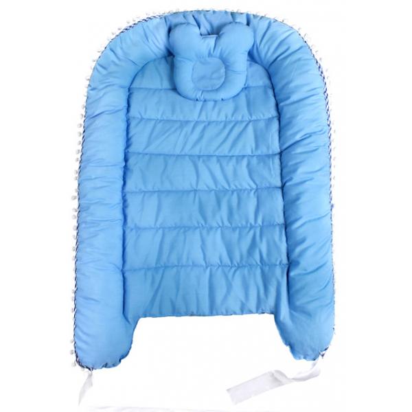 45-5691 Гнездышко - кокон для новорожденных с мягкой подушкой, голубой