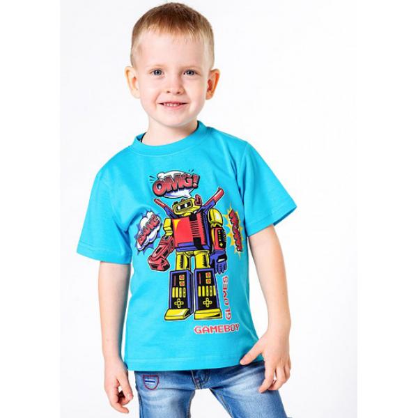 """20-002103 """"GAMEBOY"""" Футболка для мальчика, 4-8 лет, бирюзовый"""