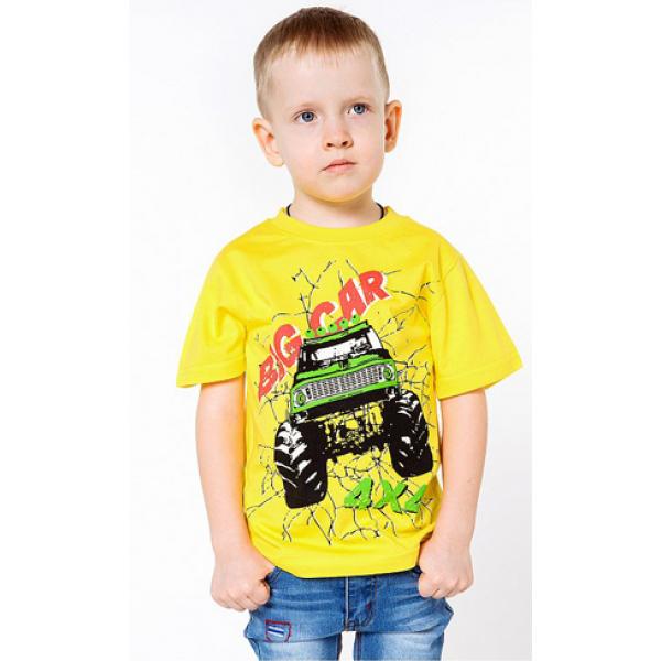 """20-002109 """"BIG CAR"""" Футболка для мальчика, 4-8 лет, желтый"""