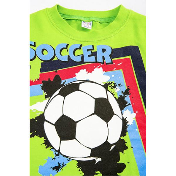 """20-002111 """"ФУТБОЛ"""" Футболка для мальчика, 4-8 лет, салатовый"""