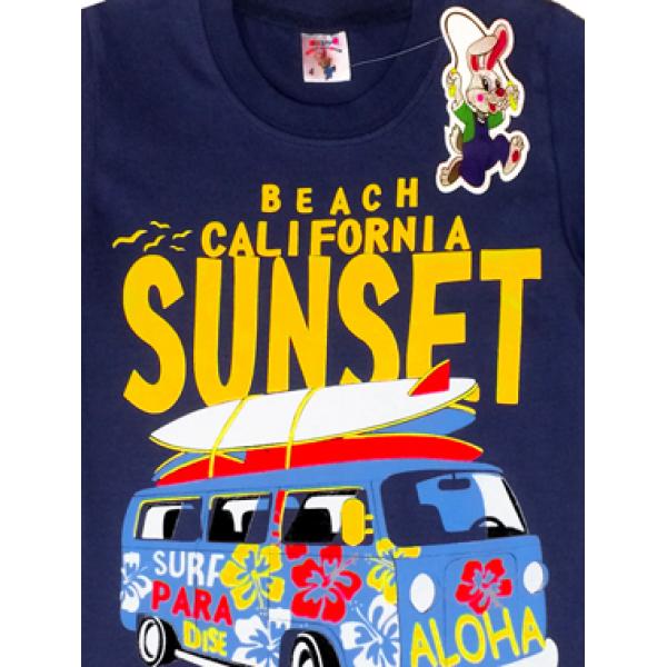 "20-102121 ""Sunset"" Футболка для мальчика, 4-8 лет, серо-синий"