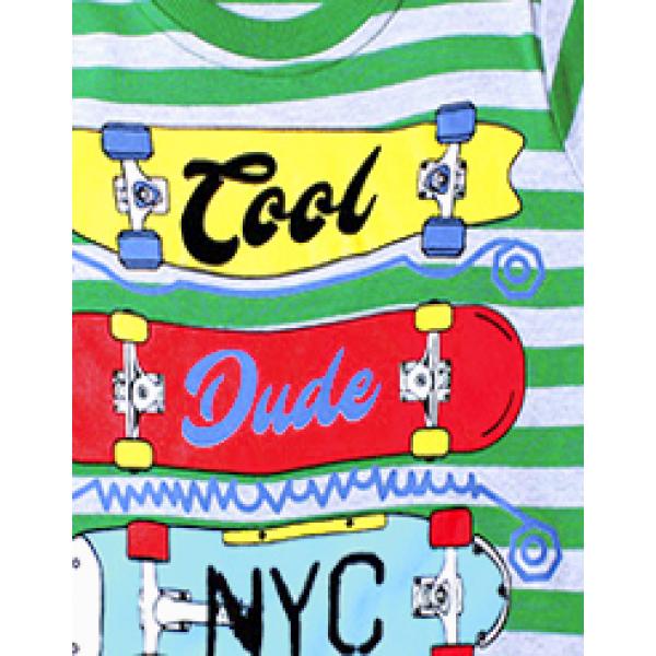 """20-112808 """"Skateboarding"""" Джемпер для мальчика, 5-8 лет, полоса-зеленый"""