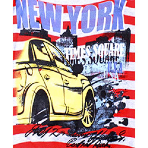"""20-112810 """"New York"""" Джемпер для мальчика, 5-8 лет, полоса\красный"""