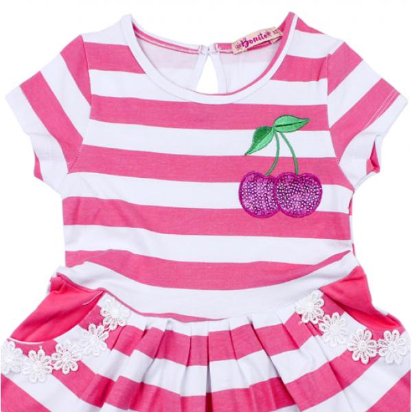 """20-117302 """"Полоска"""" Платье для девочки, 2-6 лет, розовый"""