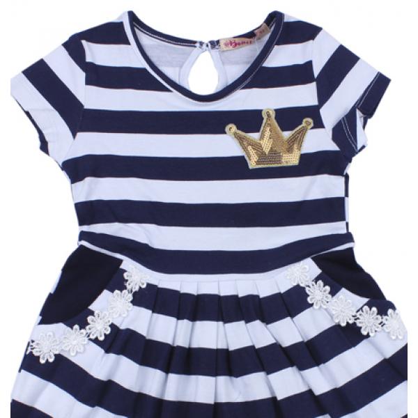 """20-117304 """"Полоска"""" Платье для девочки, 2-6 лет, т-синий"""