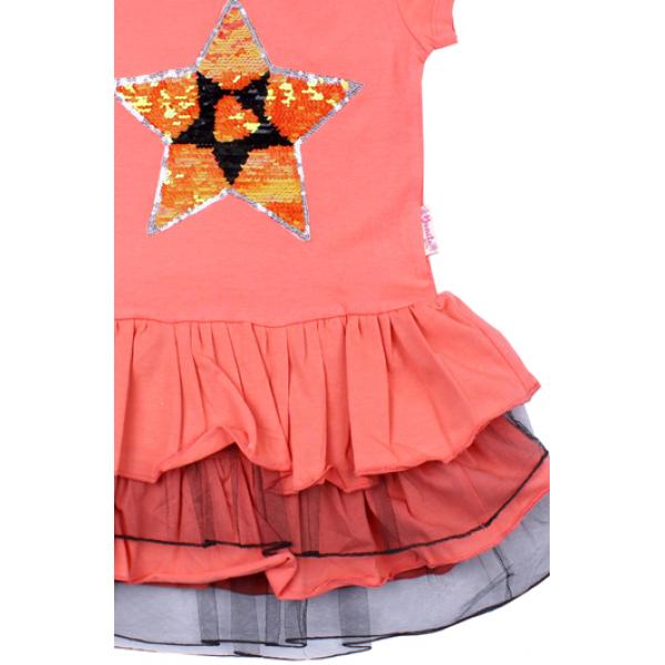 """20-117702 """"STAR"""" Платье для девочки, 5-8 лет, лососевый"""