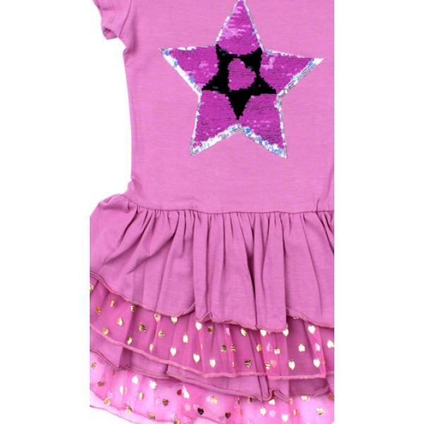 """20-117704 """"STAR"""" Платье для девочки, 5-8 лет, лиловый"""
