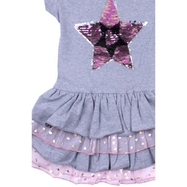 """20-117706 """"STAR"""" Платье для девочки, 5-8 лет, серый"""