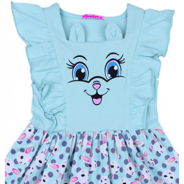 20-117801 Платье для девочки, 3-7 лет, бирюзовый