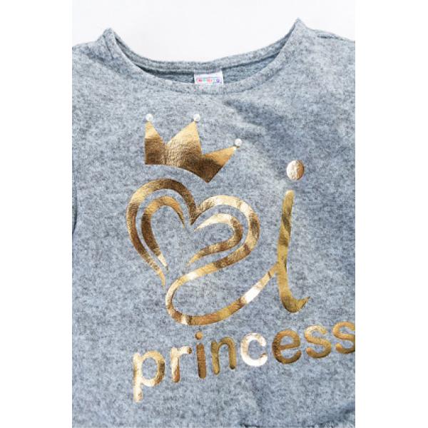"""20-23902 """"PRINCESS"""" Джемпер-туника с пайетками, 3-7 лет, голубой меланж"""