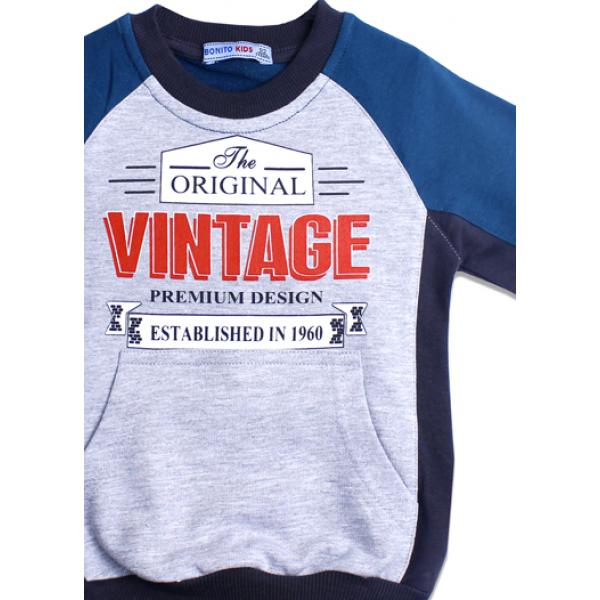 """20-49003 """"Vintage"""" Толстовка для мальчика, 7-11 лет"""