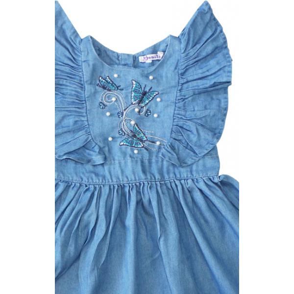 20-781 Платье джинсовое для девочки, 2-6 лет