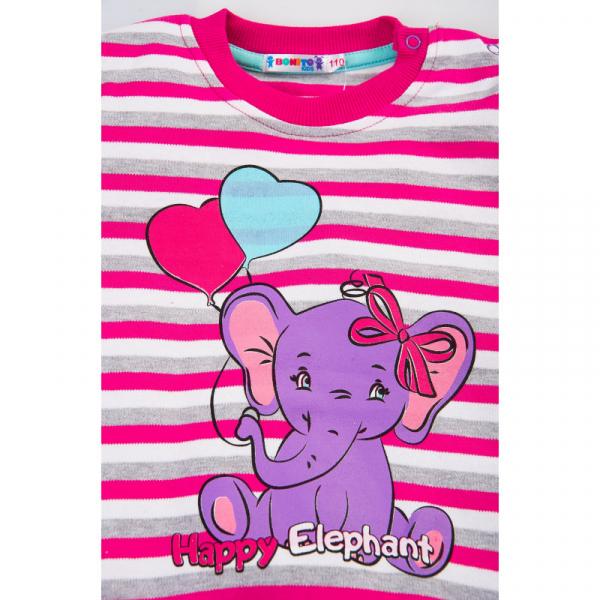 """20-78227 """"Elephant"""" Джемпер для девочки, 2-5 лет, полоска\малиновый"""