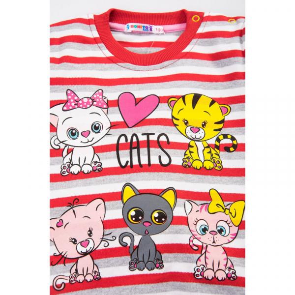 """20-78229 """"CATS"""" Джемпер для девочки, 2-5 лет, полоска/коралловый"""