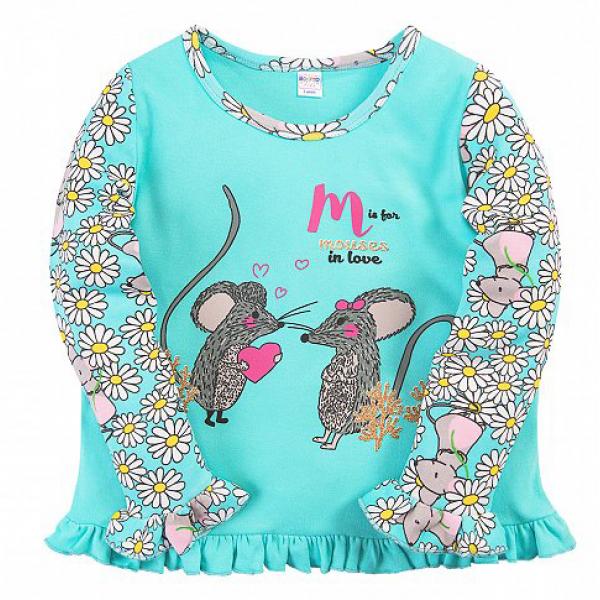 20-30054 Пижама для девочки, 2-5 лет, бирюзовый