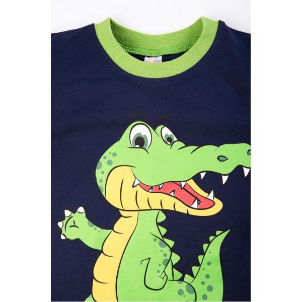 """20-97704 """"Крокодил"""" Пижама с начесом, 3-7 лет, т-синий"""