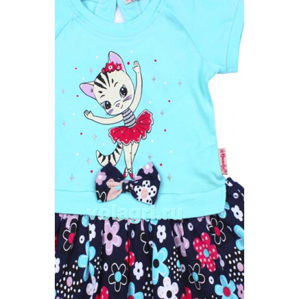 20-99703 Платье для девочки, 2-6 лет, бирюзовый