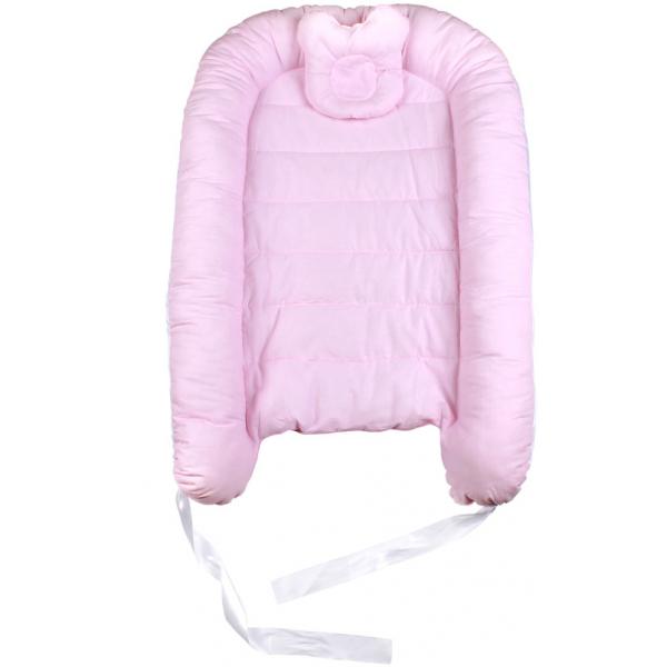 45-5693 Гнездышко - кокон для новорожденных с мягкой подушкой, розовый