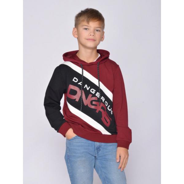 20-1248-4 Толстовка для мальчика, 3-7 лет, бордовый