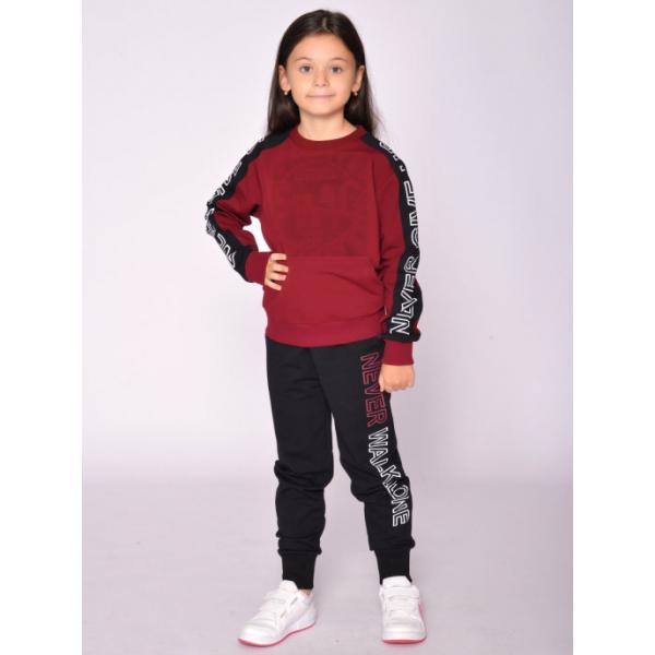 20-1218-4 Костюм спортивный для девочки, 8-12 лет, бордовый