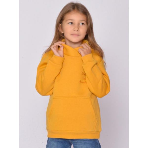 20-1261-2 Толстовка утепленная для девочки, 3-7 лет, горчичный