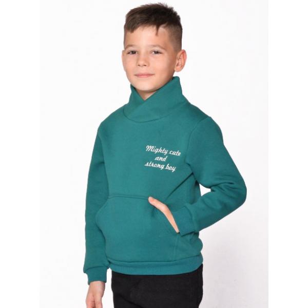 20-1261-6 Толстовка утепленная для мальчика, 3-7 лет, т-зеленый