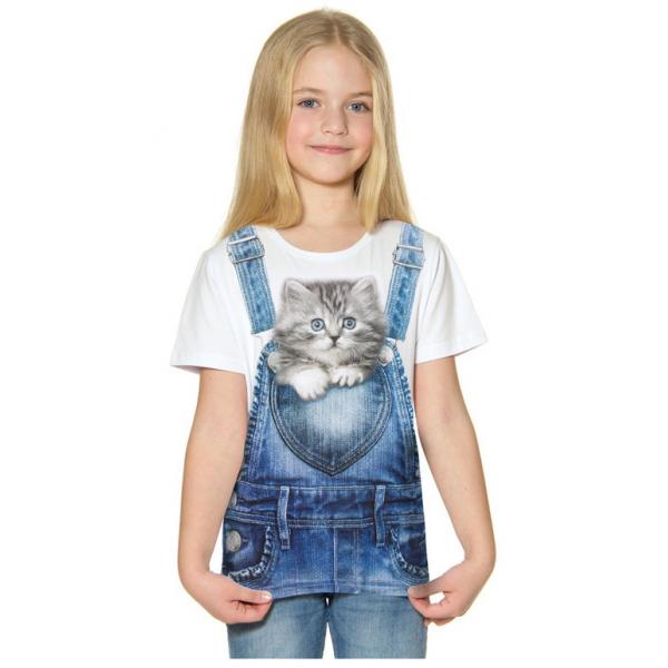 """45-8120233 """"Котенок в кармашке"""" Футболка для девочки, 8-12 лет, белый"""