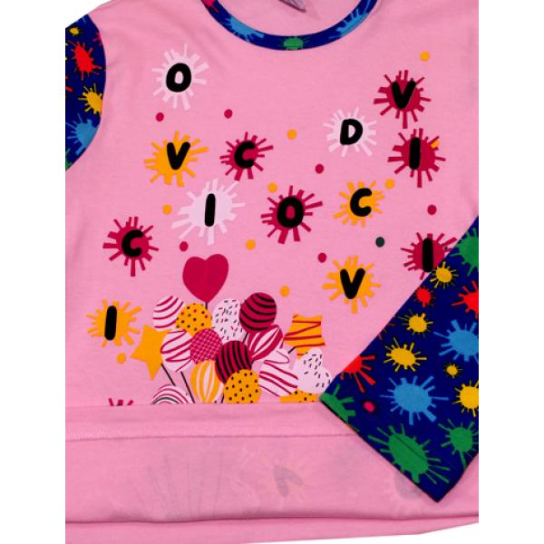 47-581210 Лонгслив для девочки, 5-8 лет, розовый