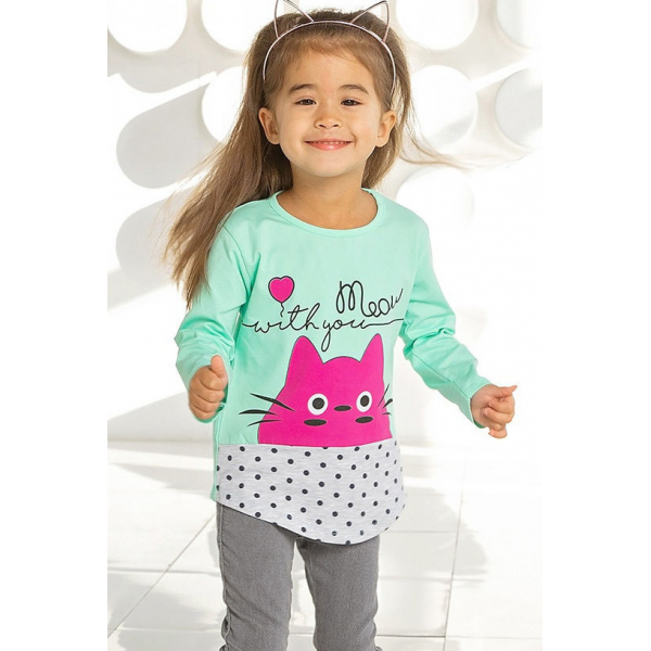 """05-0620 """"Kitty"""" Платье для девочки, интерлок, 3-7 лет, сиреневый"""