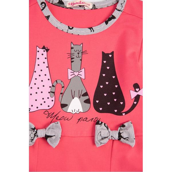 """20-13802 """"Кошки"""" Костюм для девочки, 3-7 лет, малиновый"""