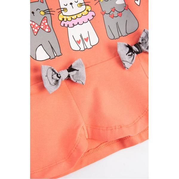 """20-13801 """"Кошки"""" Костюм для девочки, 3-7 лет, персиковый"""