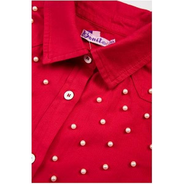 20-8322 Блузка с жемчужными бусинками, 7-10 лет, красный