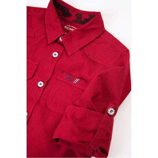 20-8363b Рубашка для мальчика, поплин, 6-10 лет, бордовый