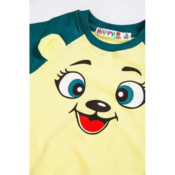10-141140 Джемпер для мальчика, 1-4 года, зеленый\желтый
