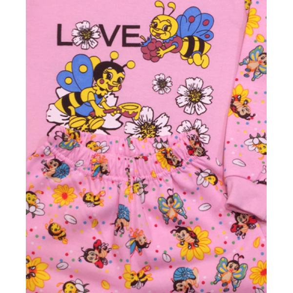 47-148206 Пижама с начесом для девочки, розовый