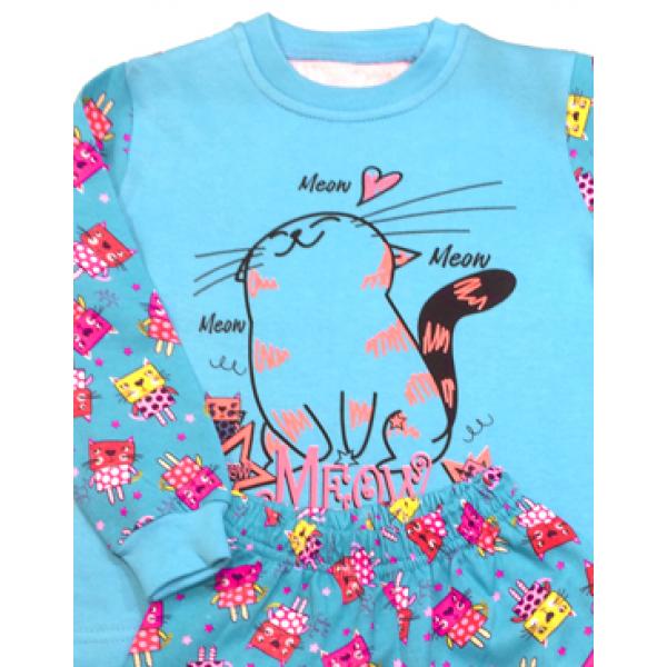 47-148205 Пижама с начесом для девочки, ментоловый