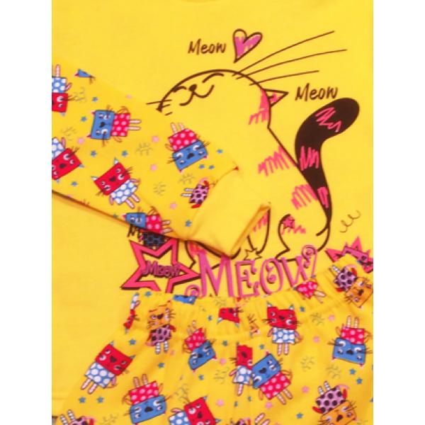 47-148209 Пижама с начесом для девочки, желтый