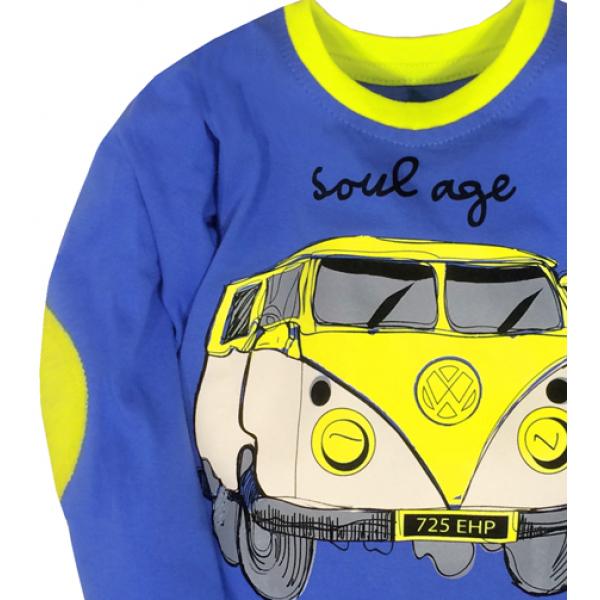 "50-0207121 ""BUS"" Лонгслив для мальчика, синий"