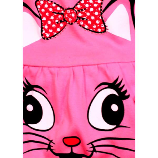 """05-0622 """"Kitty"""" Платье для девочки, интерлок, 3-7 лет, малиновый"""