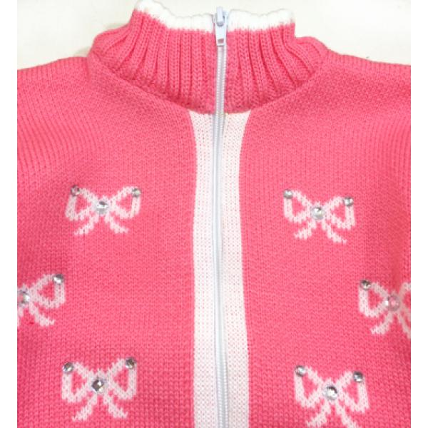 """42-0596 """"Бантики"""" Костюм для девочки вязаный, розовый"""