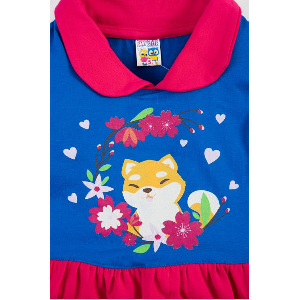 """17-37802 """"Лисенок"""" Платье для девочки, 3-7 лет, т-розовый\синий"""